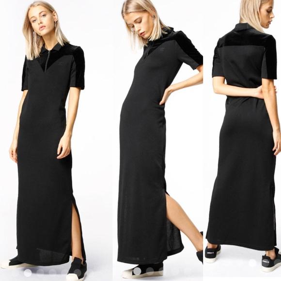 64c7a92ff569 NWT adidas originals velvet vibes black maxi dress